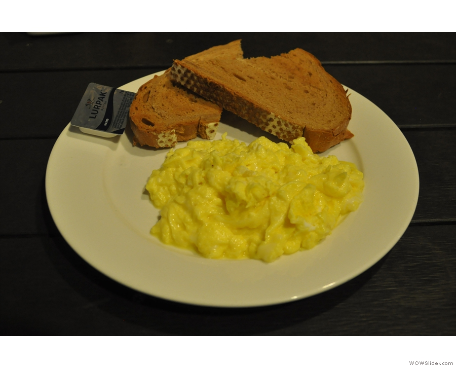Many of my other meals were in coffee shops: scrambled eggs on toast at Barista Jam...