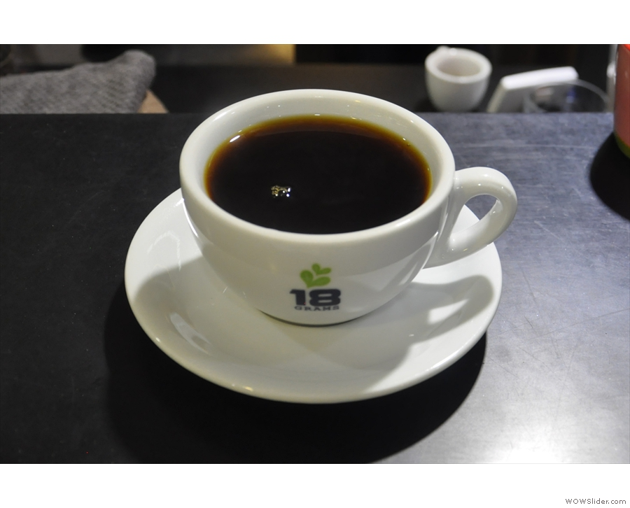 It can also pay for things like coffee, such as this one at 18 Grams, Times Square.