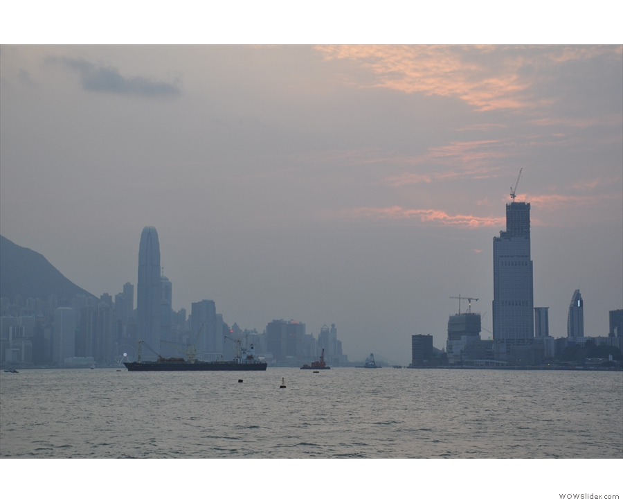 A view of Victoria Bay, from the First Ferry, Central to the left, Kowloon to the right.