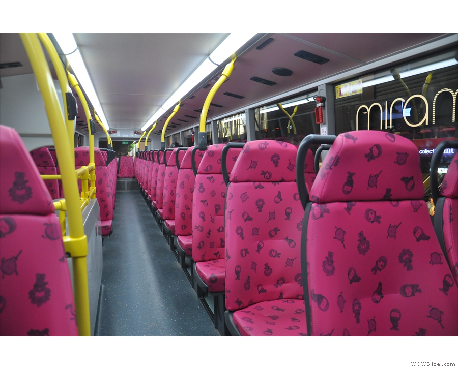 Sit upstairs if you can. This is on a late night bus in Kowloon. The upper deck is mine!