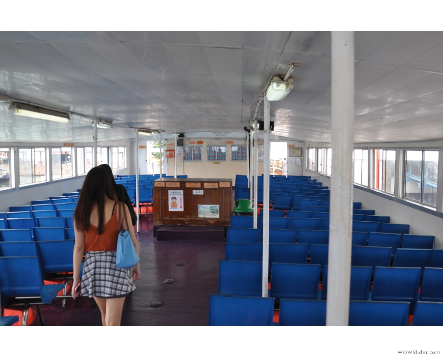 The top deck of the First Ferry on the way to Kowloon.