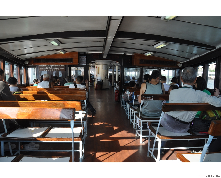 The upper deck of a Star Ferry. They can go in either direction, so the seats are reversible.