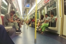 A rare quiet moment on the metro, out in the New Territories. It's normally not this empty.