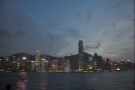Central at dusk, when things start to light up, with the Peak behind, as seen from Kowloon.