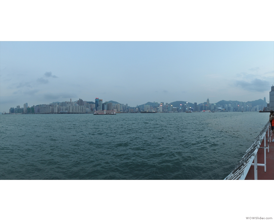 The view from the Hung Hom waterfront back across the harbour to Hong Kong Island.