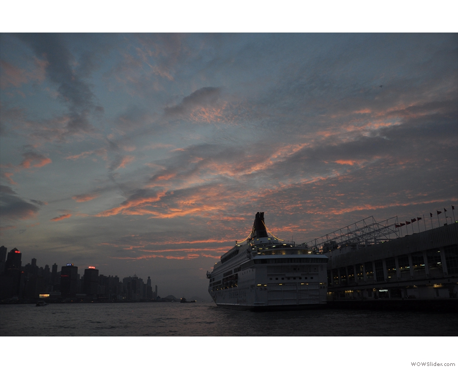 ... the cruise ship harbour, watching the sun set again.