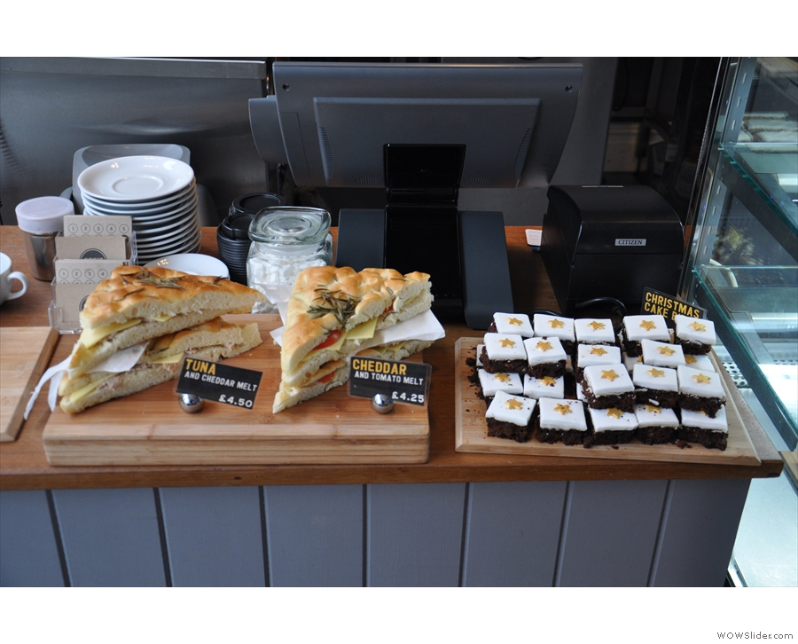 More sandwiches and Christmas Cake on the counter...