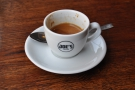All of which combined to make my fine espresso, in a classic white cup...
