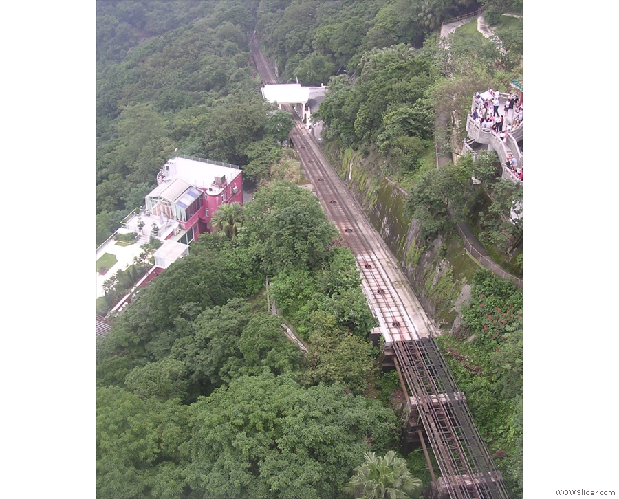 The tram line, actually a funicular railway, as seen from Victoria Peak...