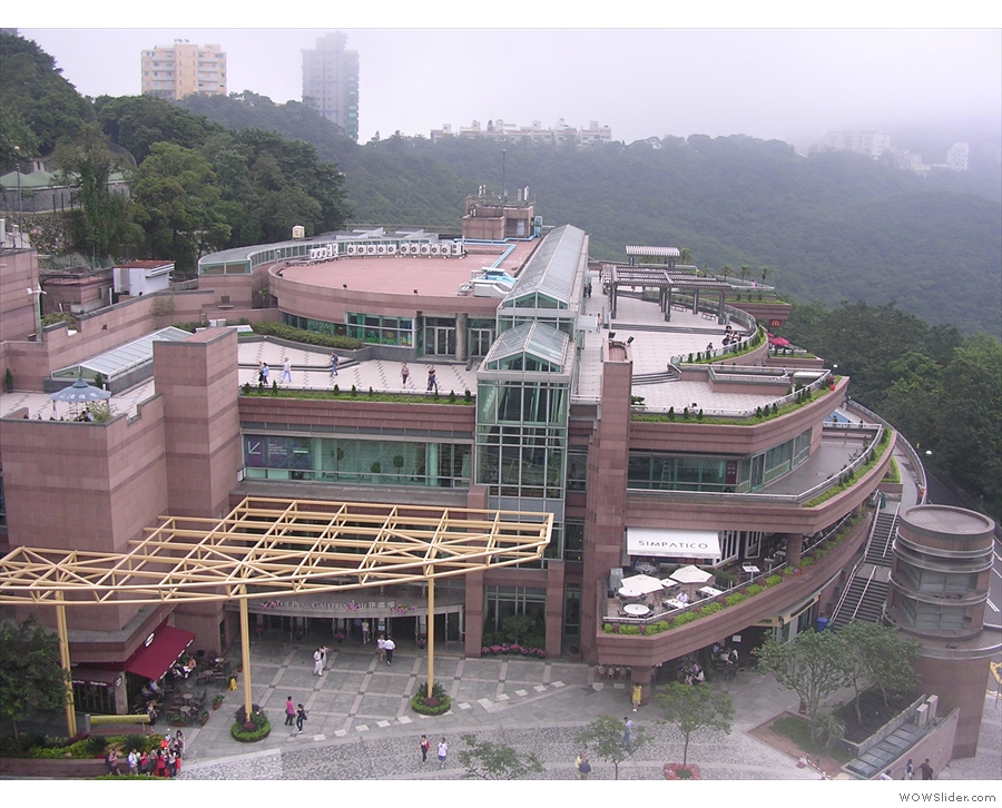 This is at the top of the Peak Tram: a shopping and leisure complex called Peak Tower.