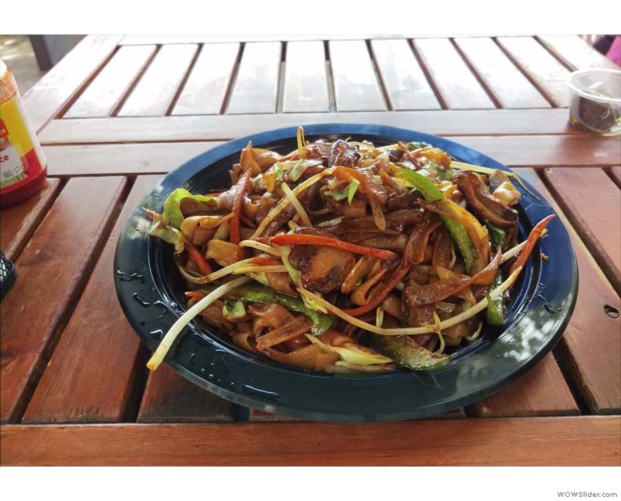 But first, lunch, a vegetarian stir fry...
