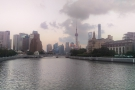 Here's my first sight of the famous Shanghai skyline looking down the Wusong River...
