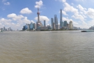 A panoramic view of Pudong from the north end of the Bund, right on a bend in the river.