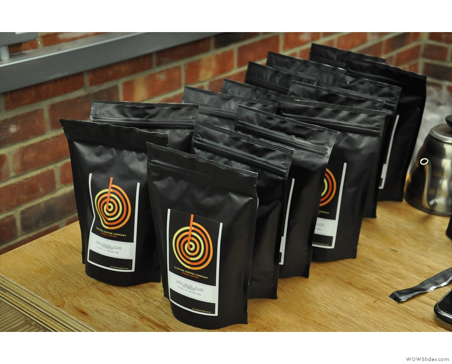Some of the coffees we cupped were samples, others were production runs, bagged up and ready to go.