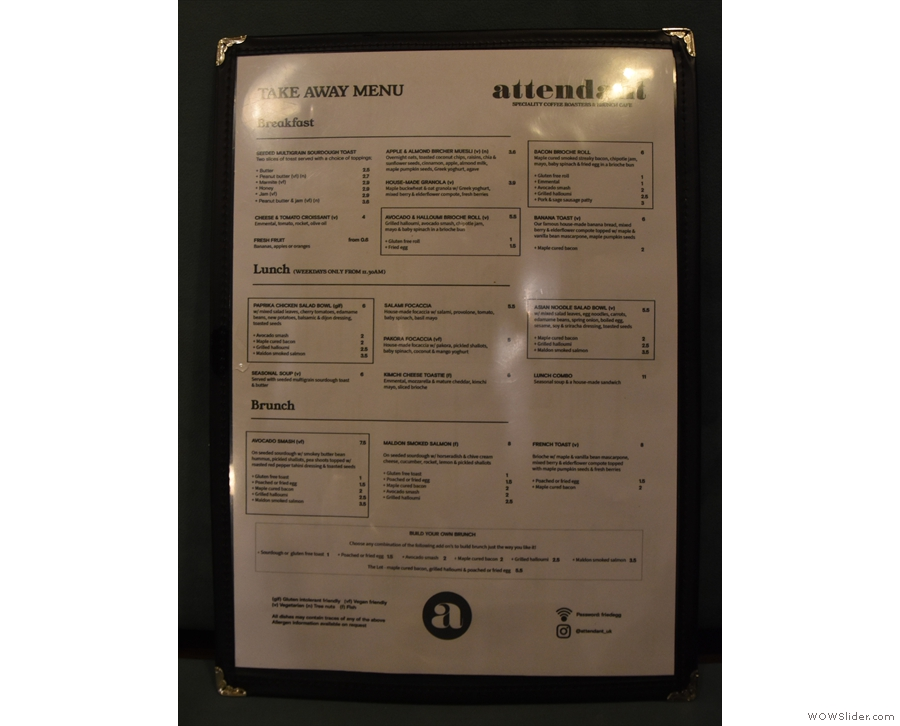 ... and you get a wipe-down laminated menu, with the same food options on one side...