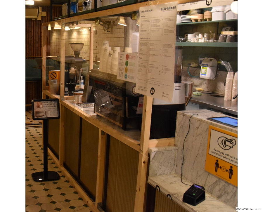 The main change, due to COVID-19, is that the counter is now lined with Perspex screens.
