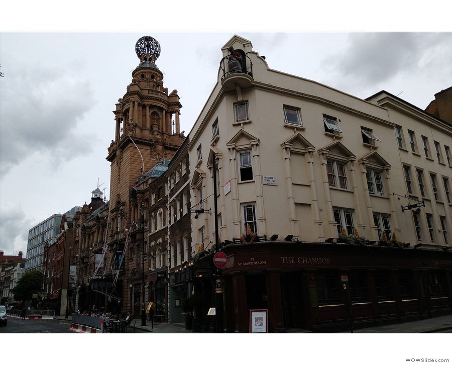 The southern end of  St Martin's Lane, at the corner with William IV Street, is very familiar.