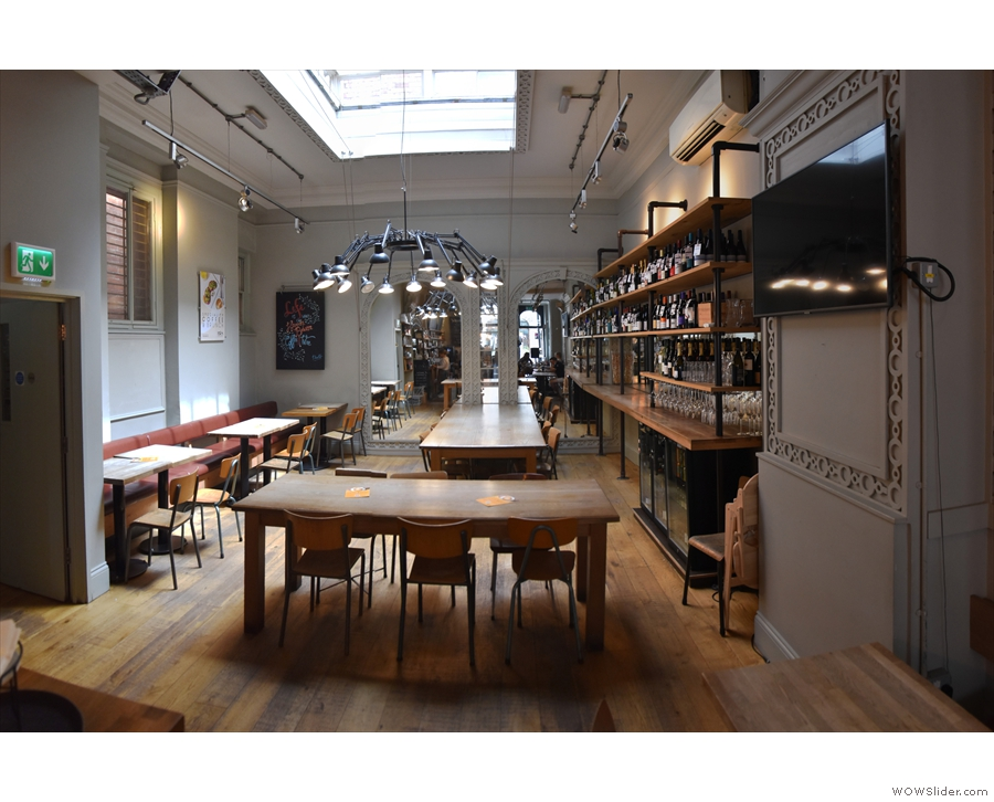 The same is true of the tables at the back on the left, although the communal tables...
