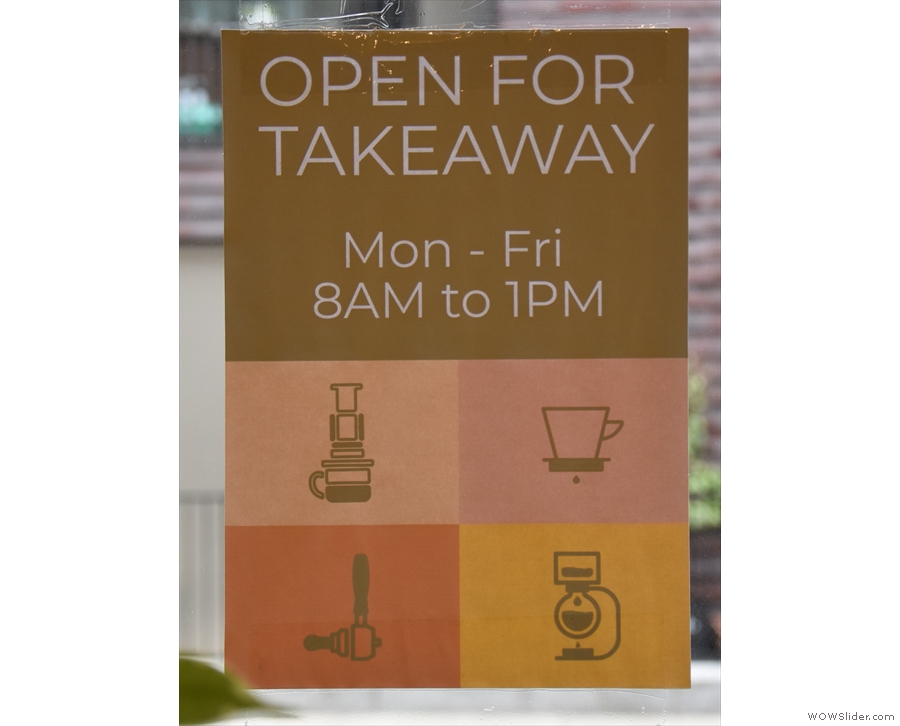 Another change: a sign proclaiming Kafi to be takeaway only (closing time is out of date).