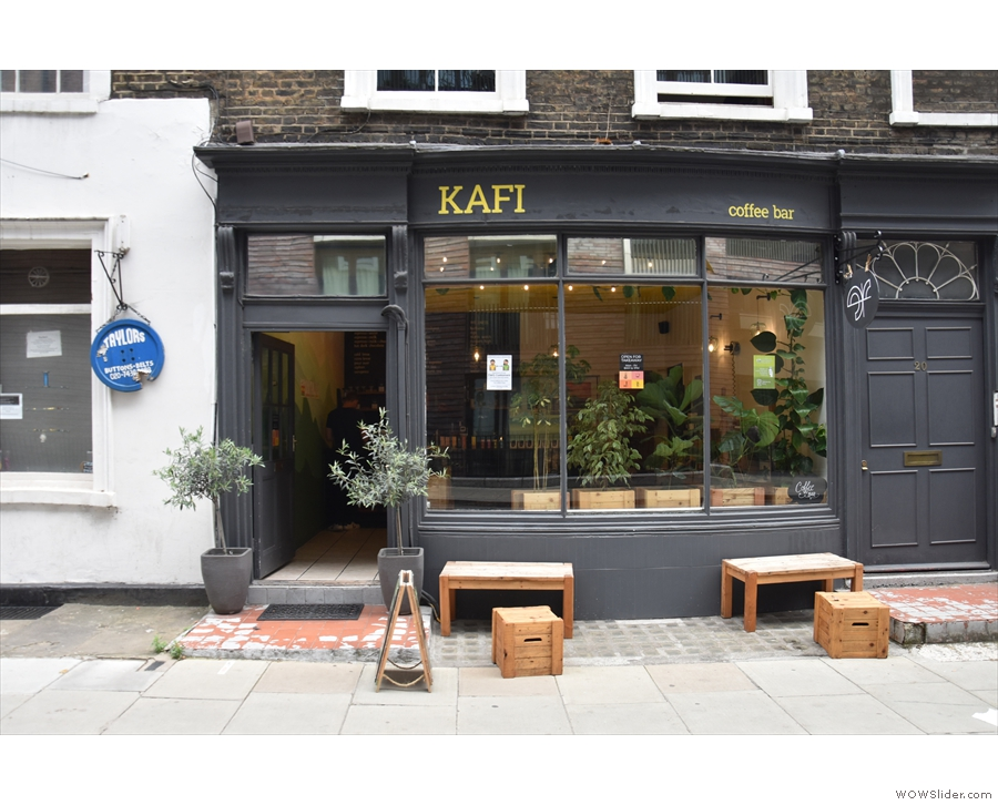 Kafi, looking very familiar on Cleveland Street, Fitzrovia. The most immediate difference...