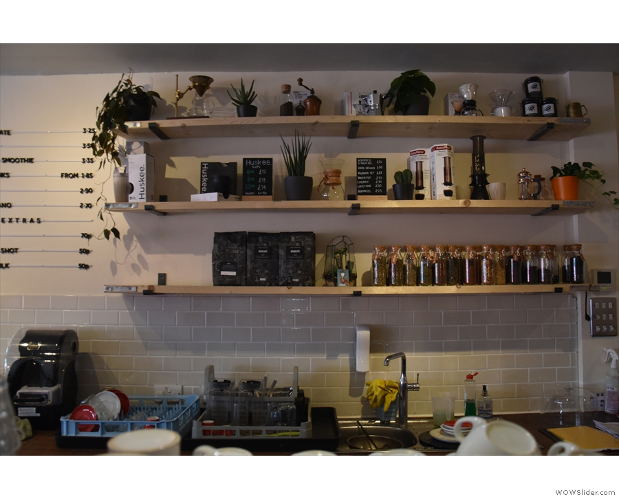 This is the view of the wall behind the espresso machine. Note that there are, as yet...