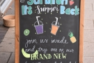 The A-board tempts to you try the new summery iced drinks.