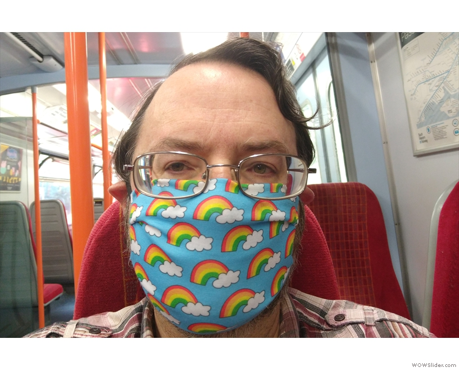 I was, of course, suitably masked, wearing my rainbow mask made by my friend Cherie.