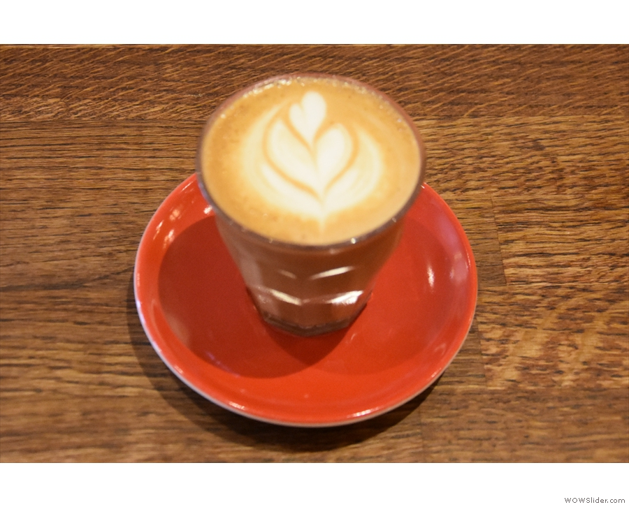 ... for another cortado, once again in a proper glass...