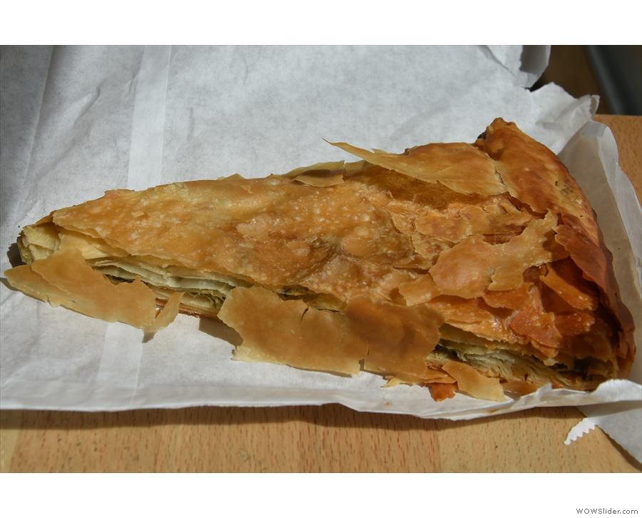I also had a slice of spinach and feta pie, served warm and in a paper bag