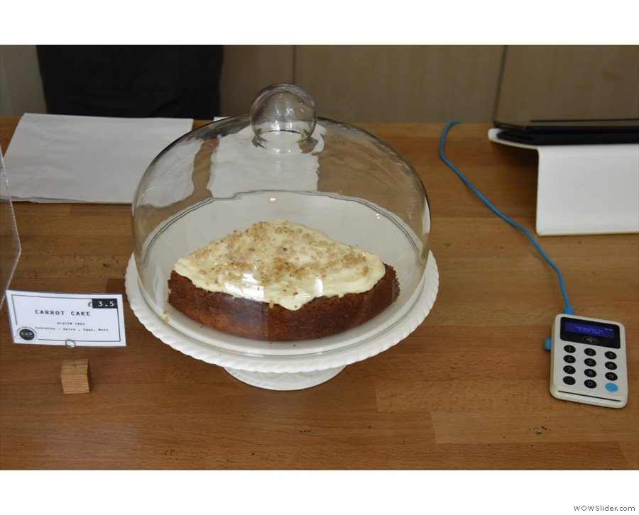 ... along with a carrot cake next to the card reader in the middle.