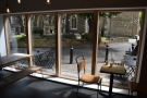 On one side of the windows is a solitary two-person table with good views of the Minster...