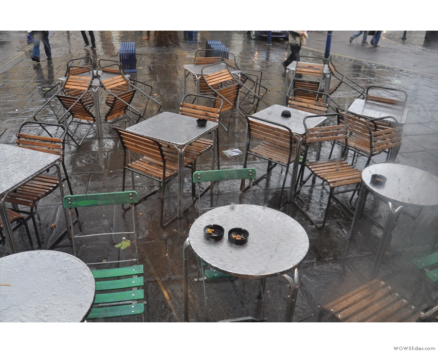 The outdoor seating at the Boston Tea Party, Bath. It rained a lot that day!