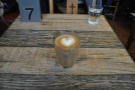 My first ever Boston Tea Party piccolo. Very fine latte-art in such a small glass.