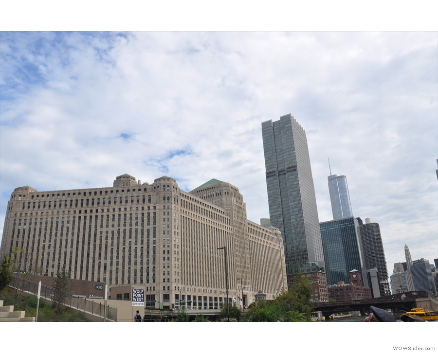 A look back along the north bank of the river with the Merchandise Mart in the foreground.