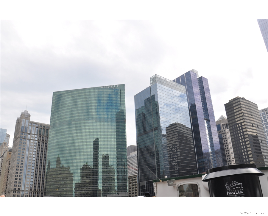 The view in the other direction, looking at the reflections in the curve of 333 Wacker Drive.