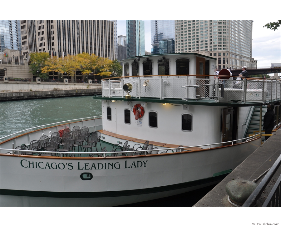 ... docent and to our boat, Chicago's Leading Lady, one of several used for these cruises.