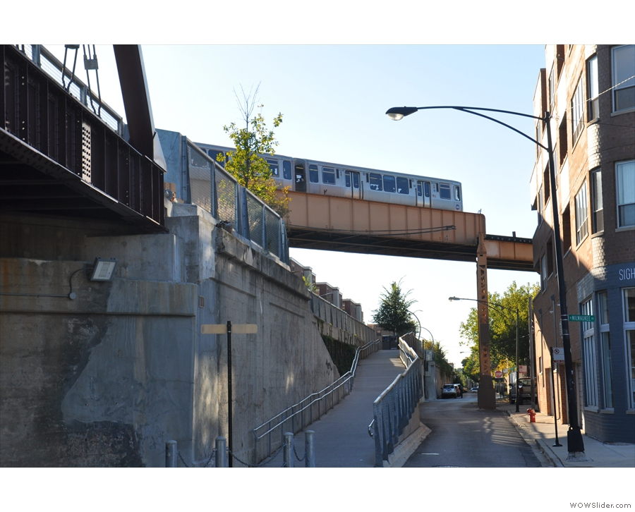Talking of trains, here's the Blue Line, which still runs above the streets.