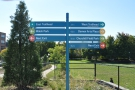 The 606 has handy signposts at each entrance/exit...