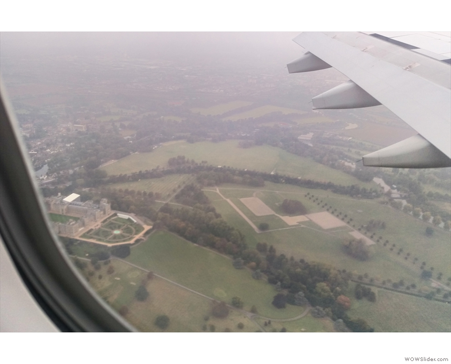 ... we break through the bottom of the cloud just as we fly over Windsor Castle.