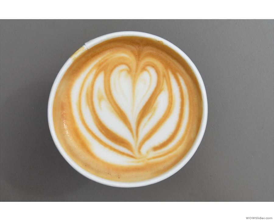 The latte art is worth a second look and almost survived when...