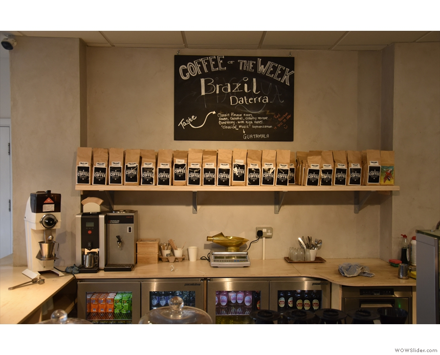 ... while at the back is the retail selection, where you can buy any of the beans.