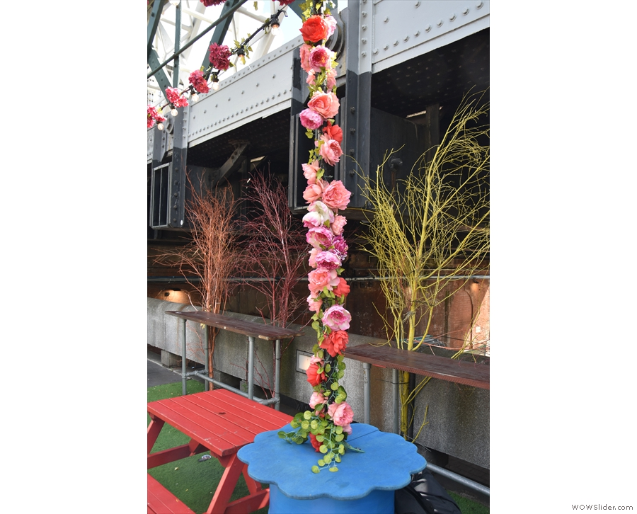 There are more flowers these days, including these on poles...