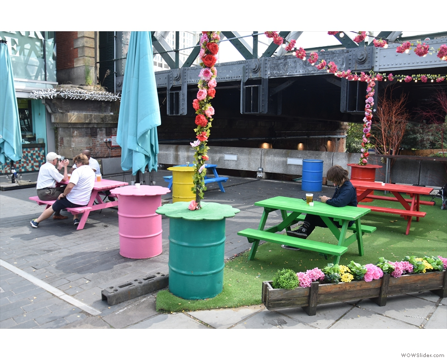 ... outside seating area. And with more astroturf too!