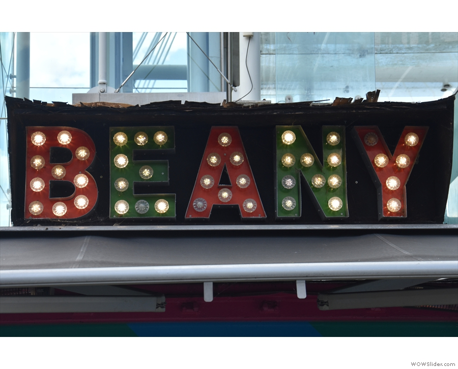 ... although not everything has changed. At the top of the container, Beany is spelt out...