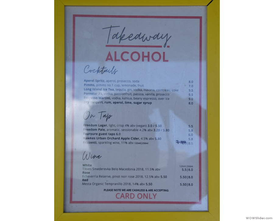 The alcohol menu, meanwhile, is on the counter top...