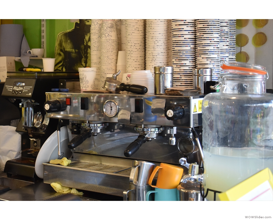 The right-hand side is the domain of the espresso machine, a two-group La Marzocco.