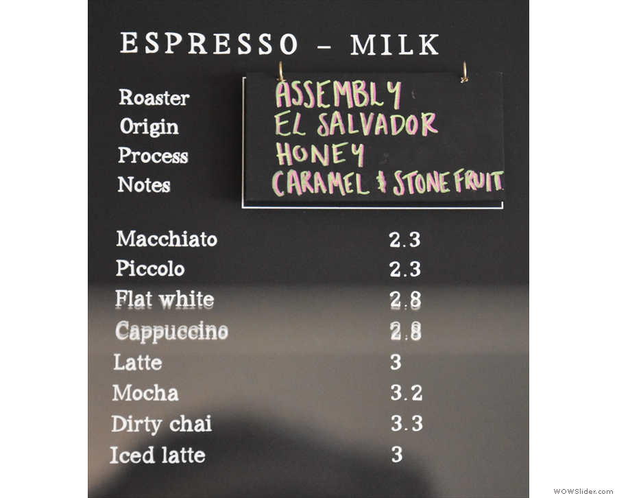 These days, Assembly is the house roaster, the seasonal El Salvador the default for milk...