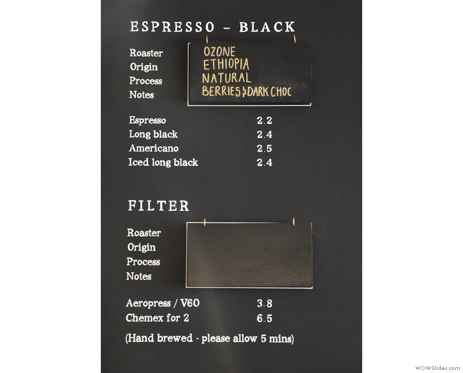 ... while the guest (currently Ozone) is the default for black coffee. Filter will be back soon.