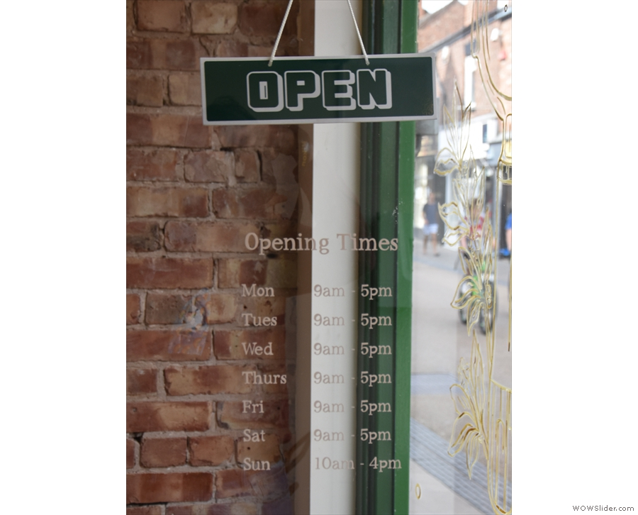 ... where you can check the revised opening times, handily written on the door.