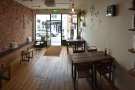 And here's the seating at the front of Bean & Cole, as seen looking back from the counter.